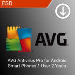 AVG Antivirus Pro for Android Smart Phones 1 User 2 Years