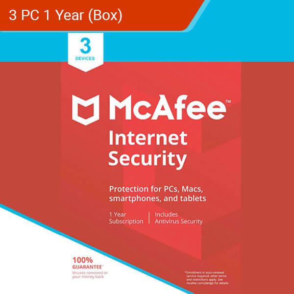 McAfee Internet Security 2018 3 PC 1 Year-box