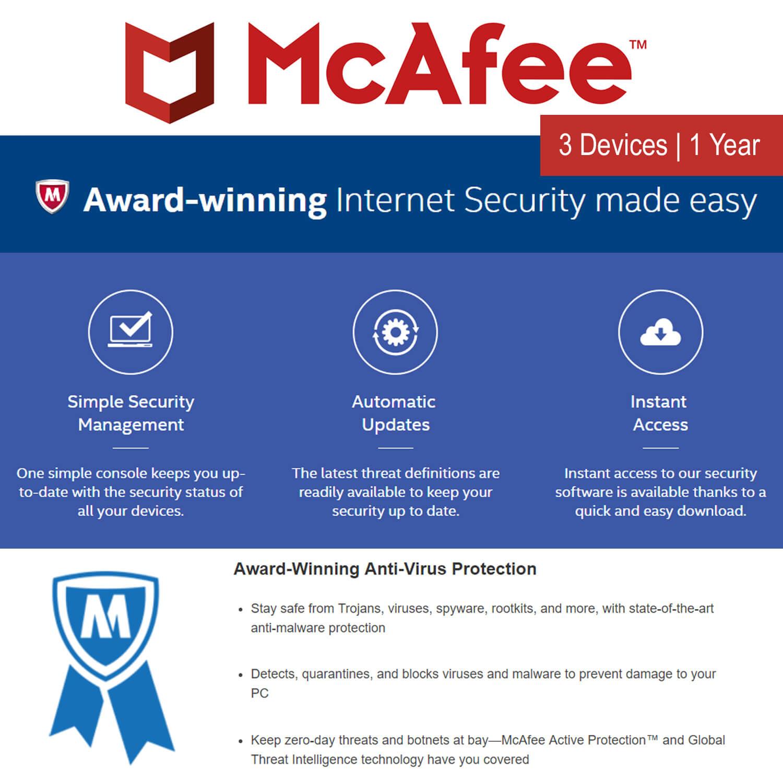 Mcafee Internet Security 2018 3 Pc 1 Year Softvire Antivirus