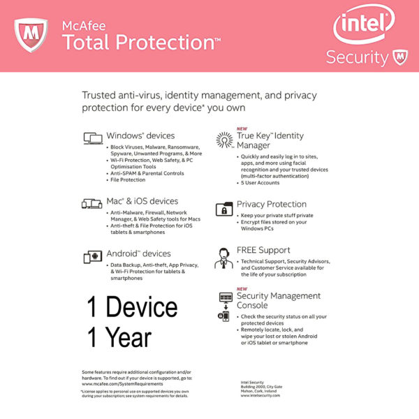 McAfee Total Protection last back