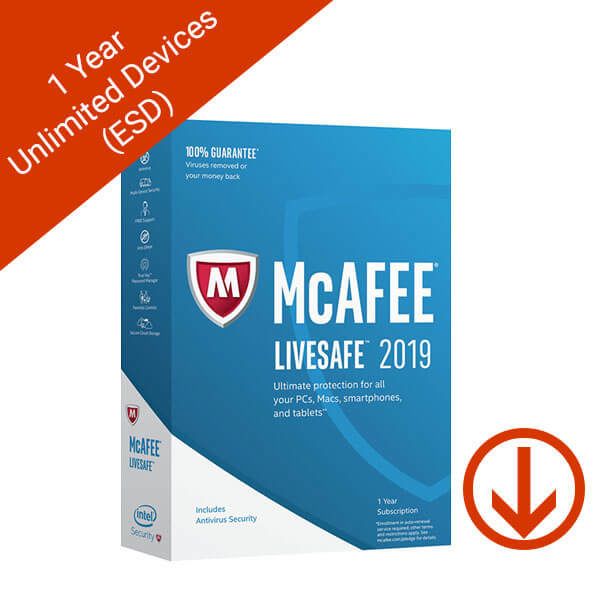 McAfee LiveSafe 2019 1 Year Unlimited Devices Global (ESD)
