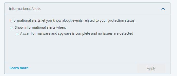 McAfee Informational Alerts