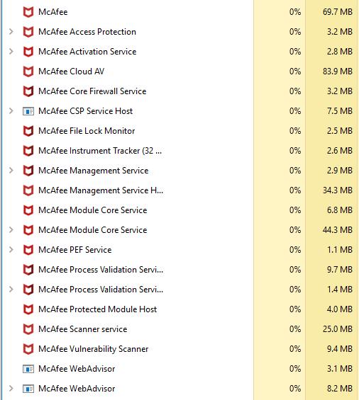 McAfee memory consumption