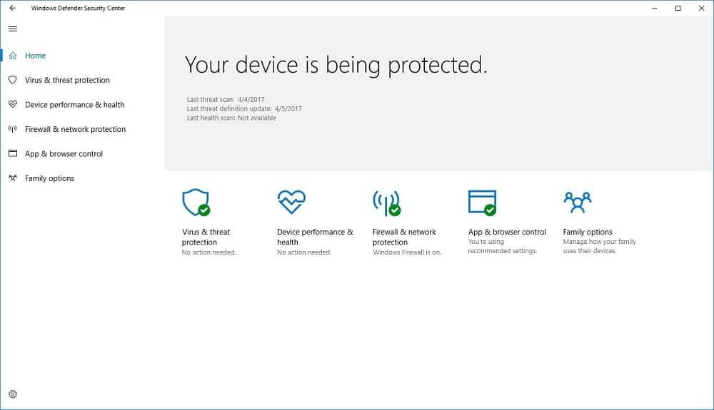 Windows Defender Security Center
