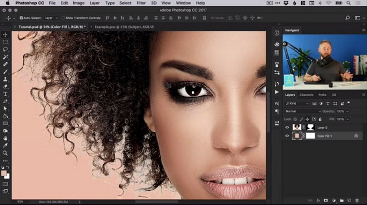retouch the hair to remove the highlight around it and make it really look like it's a part of the new background