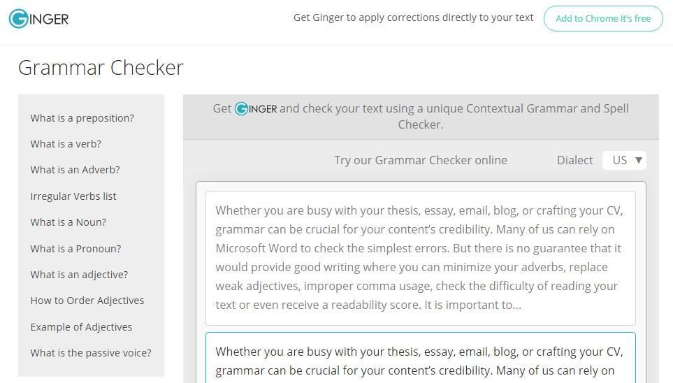 ginger grammar checker for ms word