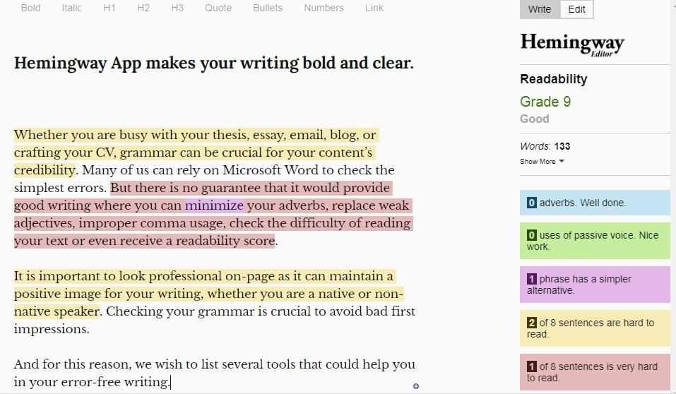 hemingway grammar checker